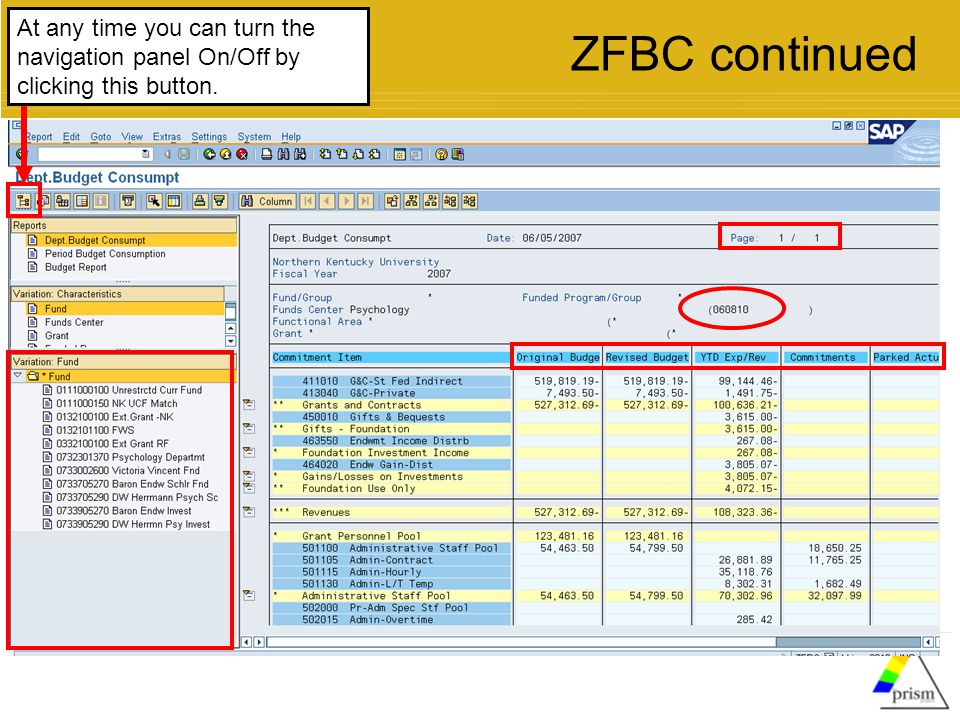 At any time you can turn the navigation panel On/Off by clicking this button. ZFBC continued