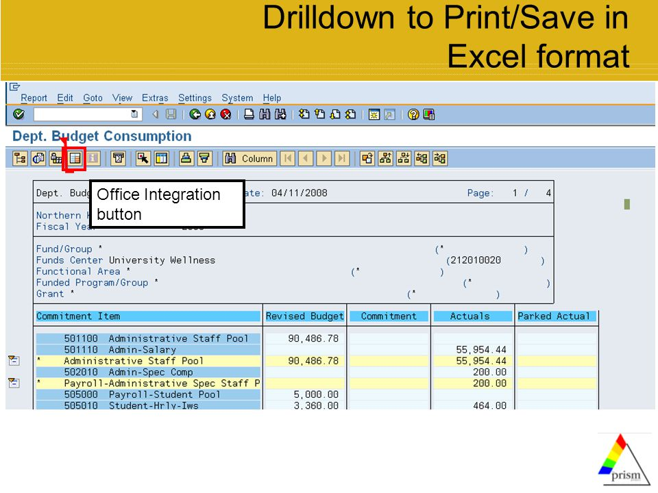 Drilldown to Print/Save in Excel format Office Integration button