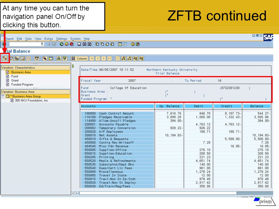 At any time you can turn the navigation panel On/Off by clicking this button. ZFTB continued