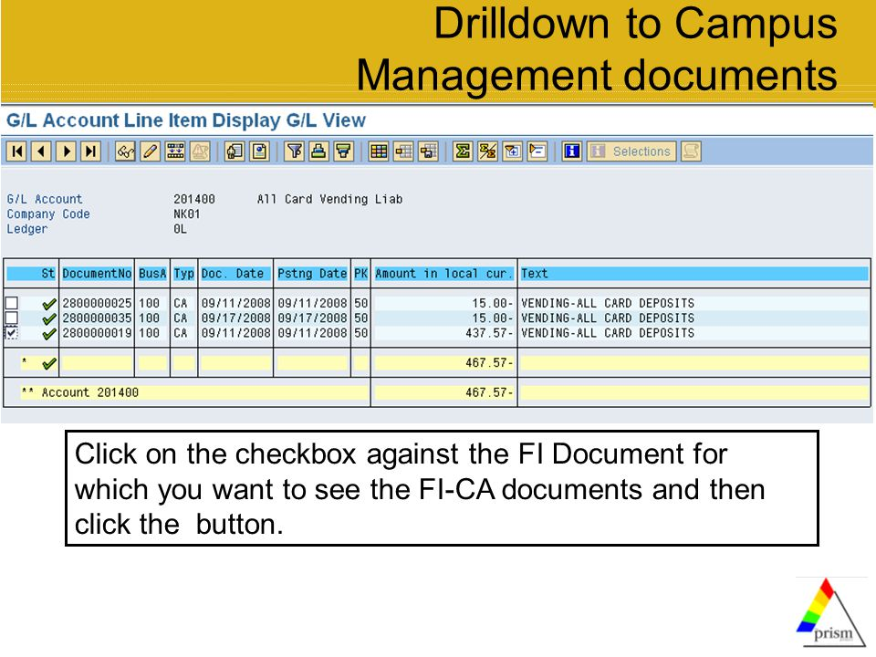 Drilldown to Campus Management documents Click on the checkbox against the FI Document for which you want to see the FI-CA documents and then click the button.