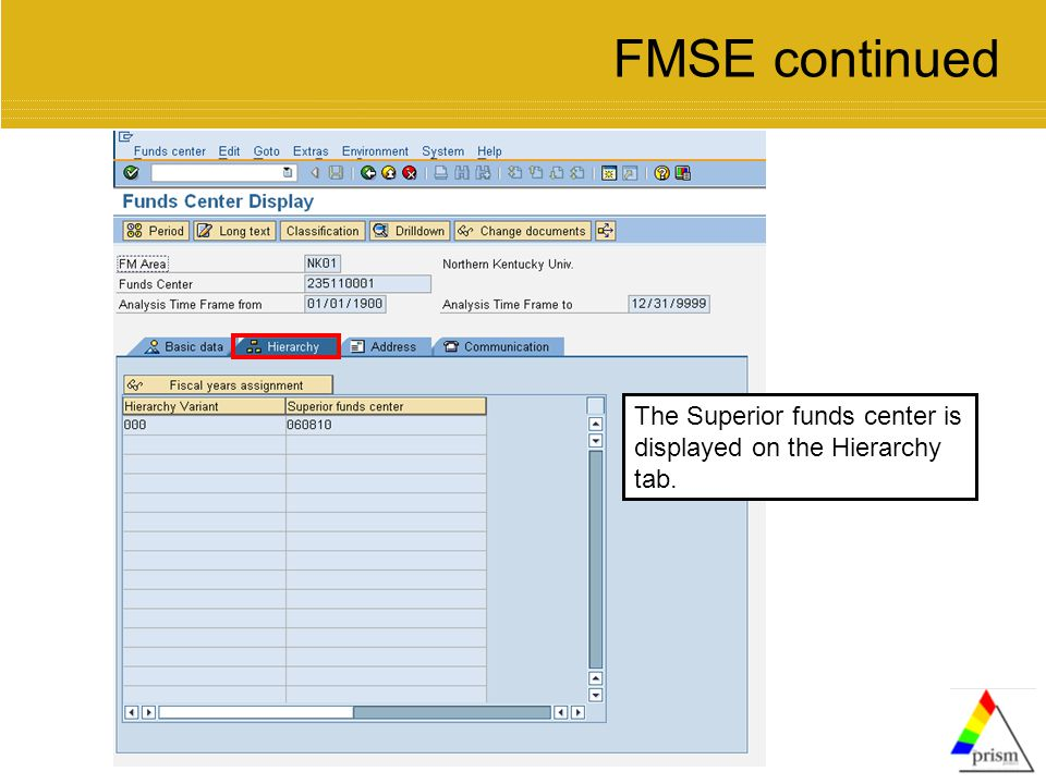 The Superior funds center is displayed on the Hierarchy tab. FMSE continued