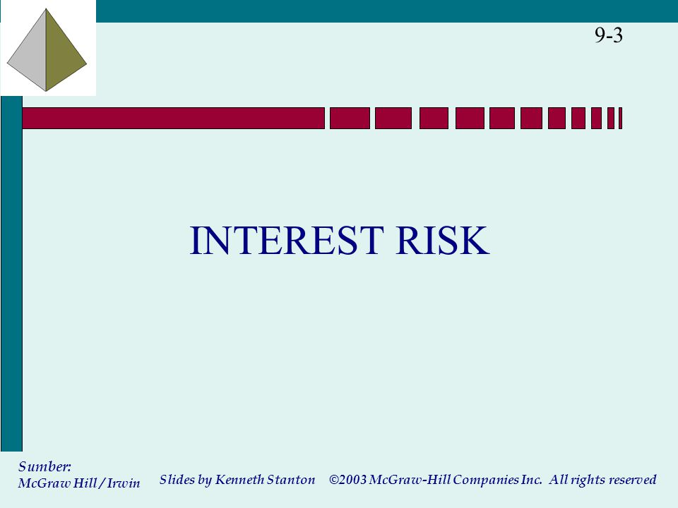 ©2003 McGraw-Hill Companies Inc. All rights reserved Slides by Kenneth Stanton Sumber: McGraw Hill / Irwin 9-3 INTEREST RISK