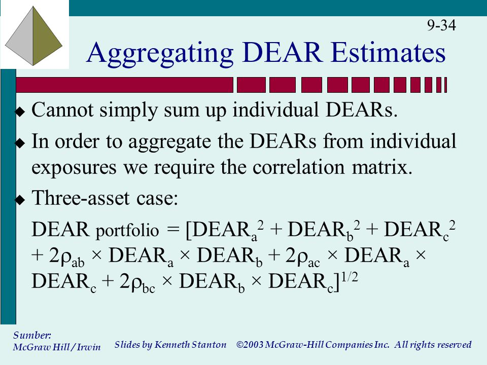 ©2003 McGraw-Hill Companies Inc. All rights reserved Slides by Kenneth Stanton Sumber: McGraw Hill / Irwin 9-34 Aggregating DEAR Estimates u Cannot si
