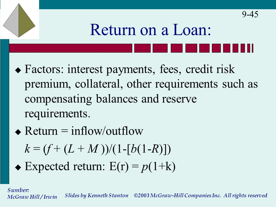 ©2003 McGraw-Hill Companies Inc. All rights reserved Slides by Kenneth Stanton Sumber: McGraw Hill / Irwin 9-45 Return on a Loan: u Factors: interest
