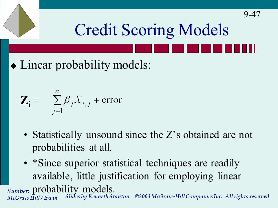 ©2003 McGraw-Hill Companies Inc. All rights reserved Slides by Kenneth Stanton Sumber: McGraw Hill / Irwin 9-47 Credit Scoring Models u Linear probabi