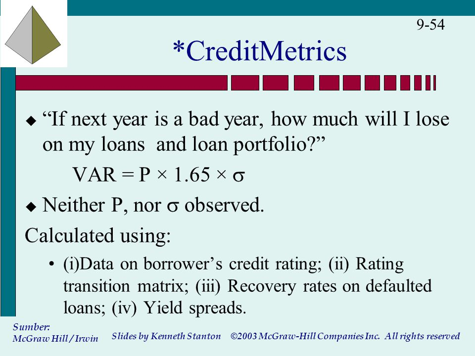 """©2003 McGraw-Hill Companies Inc. All rights reserved Slides by Kenneth Stanton Sumber: McGraw Hill / Irwin 9-54 *CreditMetrics u """"If next year is a ba"""