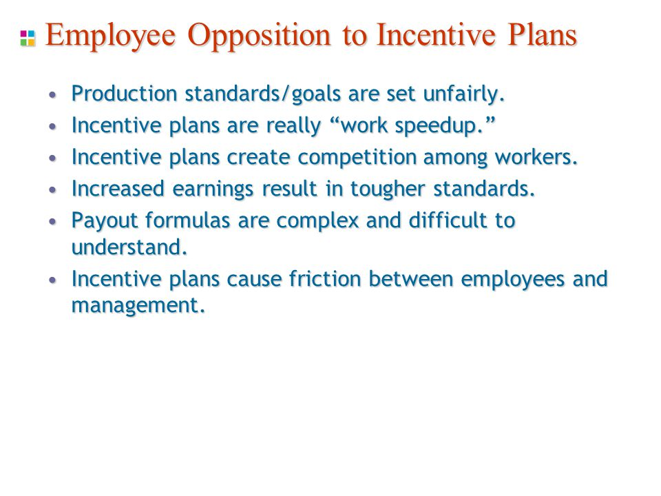 Employee Opposition to Incentive Plans Production standards/goals are set unfairly.Production standards/goals are set unfairly.