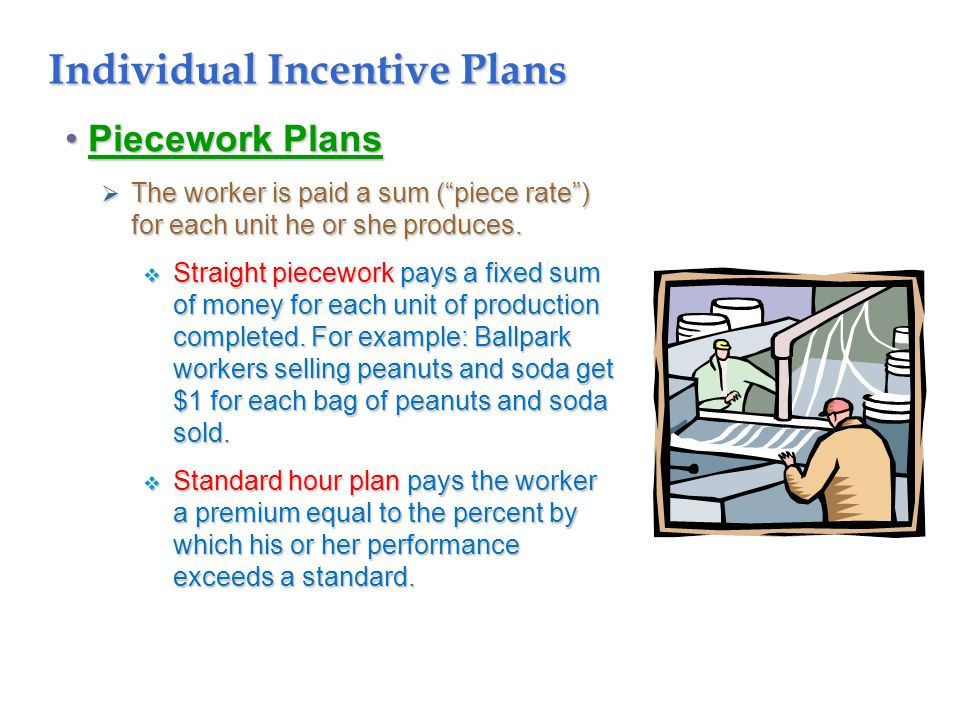 Individual Incentive Plans Piecework PlansPiecework Plans  The worker is paid a sum ( piece rate ) for each unit he or she produces.