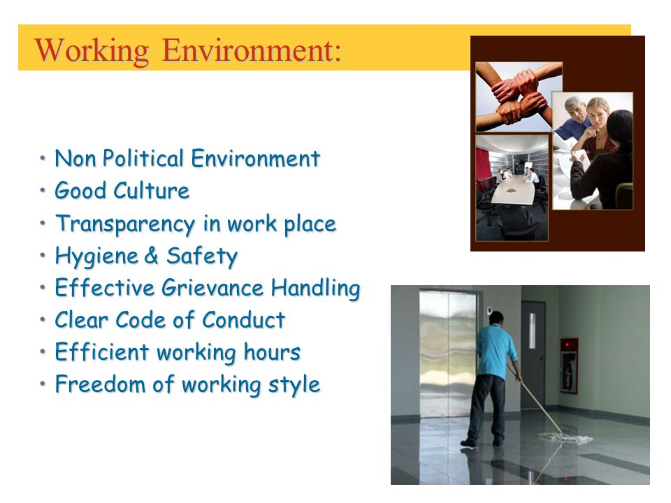 Working Environment: Working Environment: Non Political EnvironmentNon Political Environment Good CultureGood Culture Transparency in work placeTransparency in work place Hygiene & SafetyHygiene & Safety Effective Grievance HandlingEffective Grievance Handling Clear Code of ConductClear Code of Conduct Efficient working hoursEfficient working hours Freedom of working styleFreedom of working style