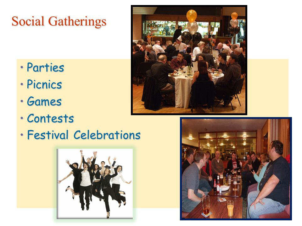Social Gatherings PartiesParties PicnicsPicnics GamesGames ContestsContests Festival CelebrationsFestival Celebrations