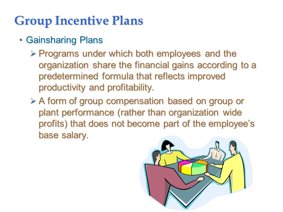 Group Incentive Plans Gainsharing PlansGainsharing Plans  Programs under which both employees and the organization share the financial gains according to a predetermined formula that reflects improved productivity and profitability.