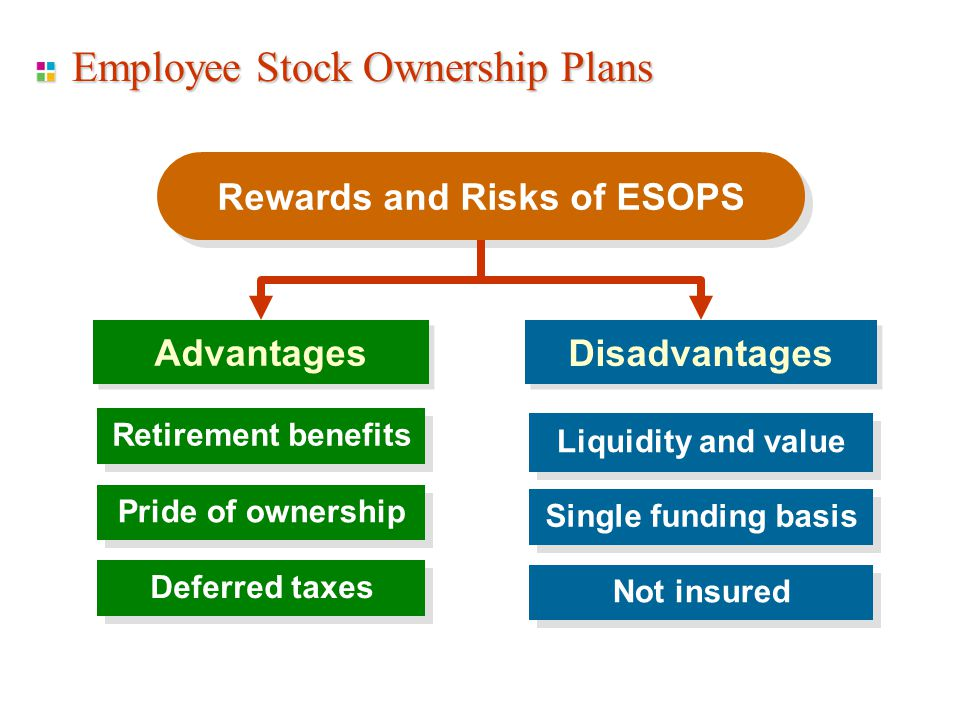 Employee Stock Ownership Plans Rewards and Risks of ESOPS Advantages Disadvantages Liquidity and value Pride of ownership Deferred taxes Single funding basis Not insured Retirement benefits