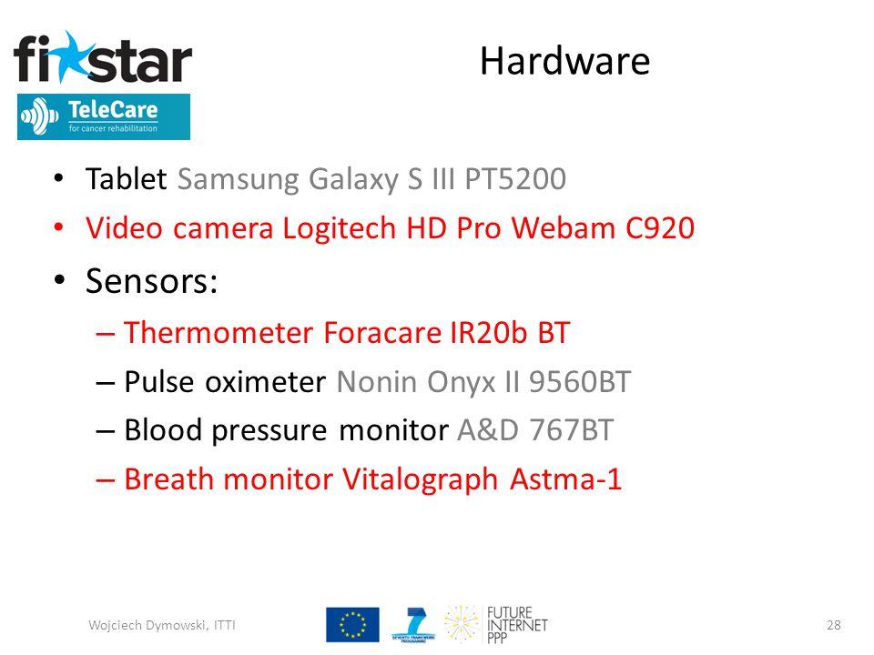 Hardware Tablet Samsung Galaxy S III PT5200 Video camera Logitech HD Pro Webam C920 Sensors: – Thermometer Foracare IR20b BT – Pulse oximeter Nonin Onyx II 9560BT – Blood pressure monitor A&D 767BT – Breath monitor Vitalograph Astma-1 Wojciech Dymowski, ITTI28