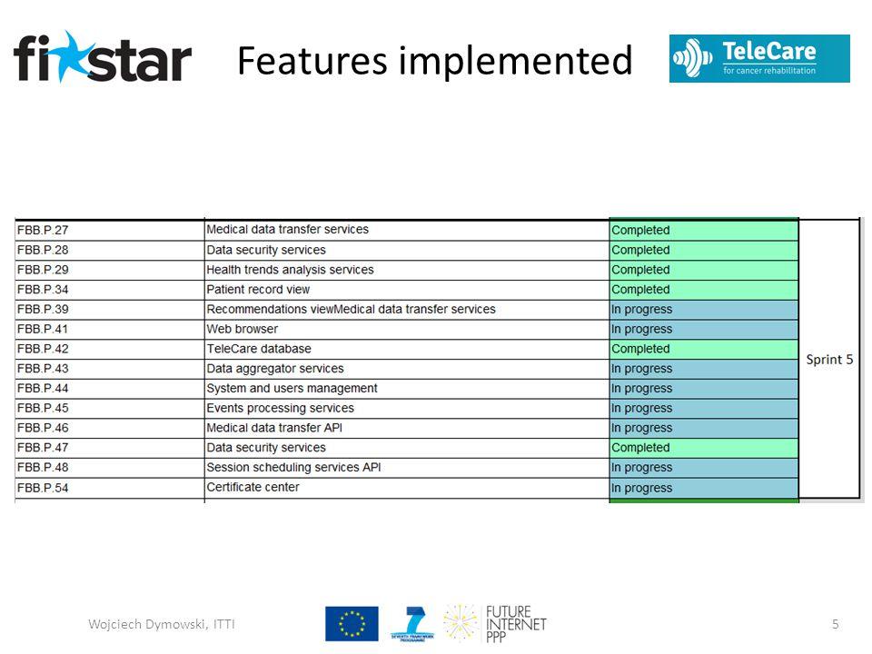 Features implemented Wojciech Dymowski, ITTI5