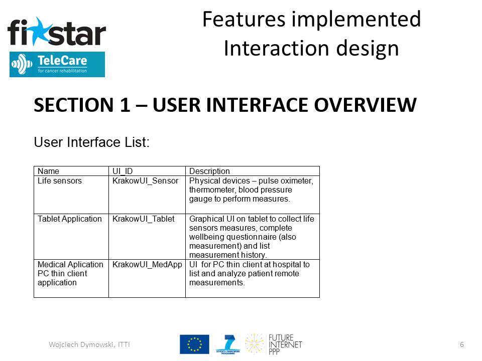 Features implemented Interaction design Wojciech Dymowski, ITTI6