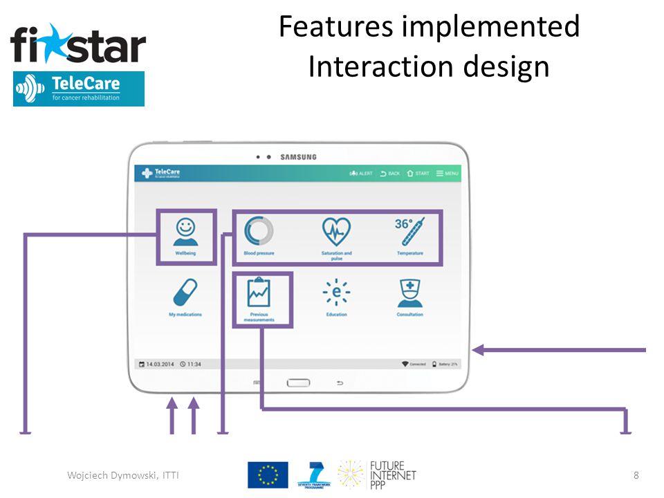 Features implemented Interaction design Wojciech Dymowski, ITTI8