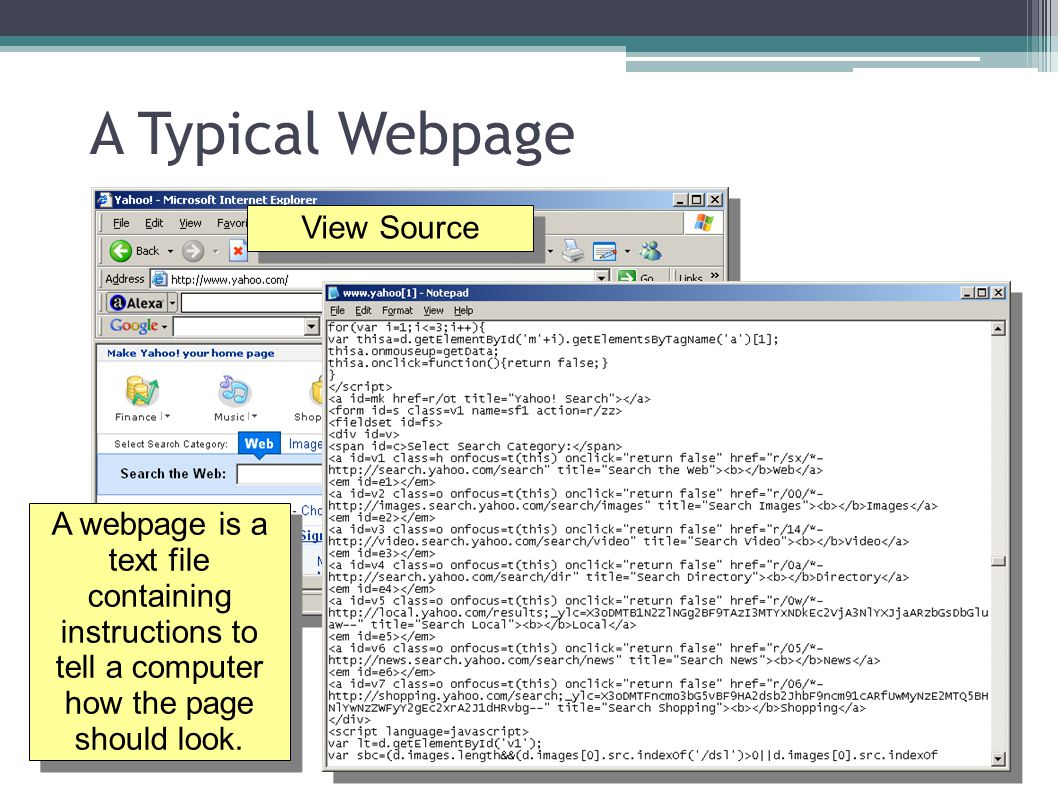 A Typical Webpage View Source A webpage is a text file containing instructions to tell a computer how the page should look.