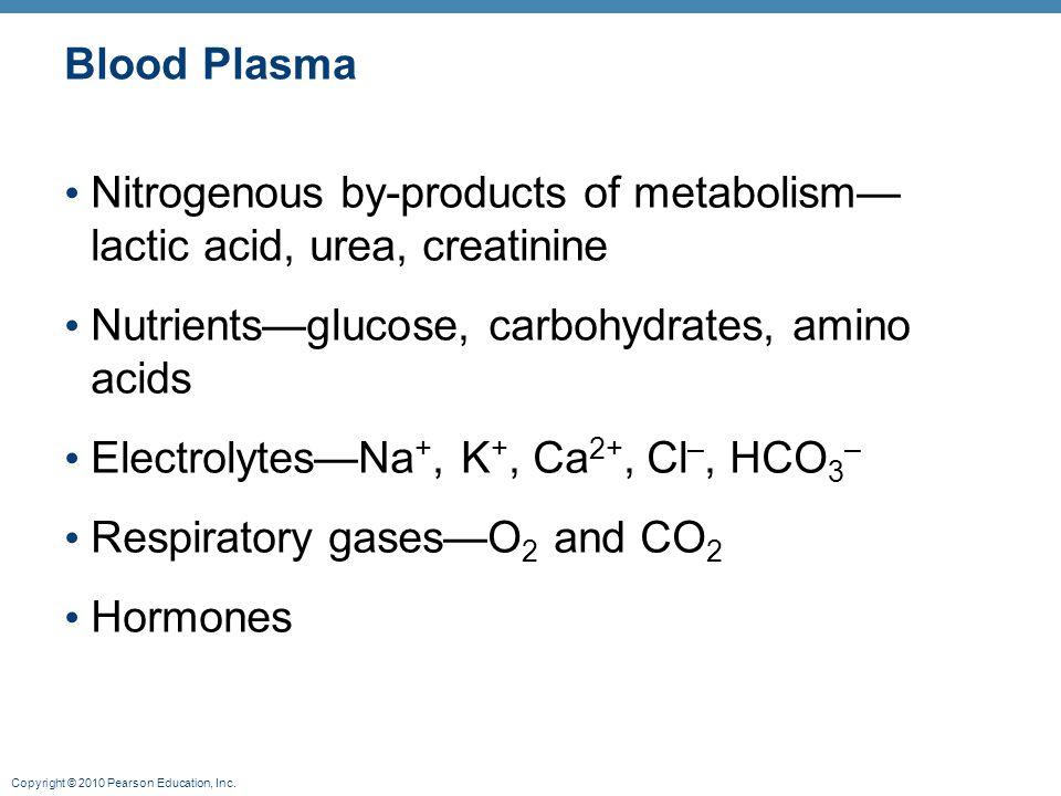Copyright © 2010 Pearson Education, Inc. Formed Elements (WBC, RBC, platelets)
