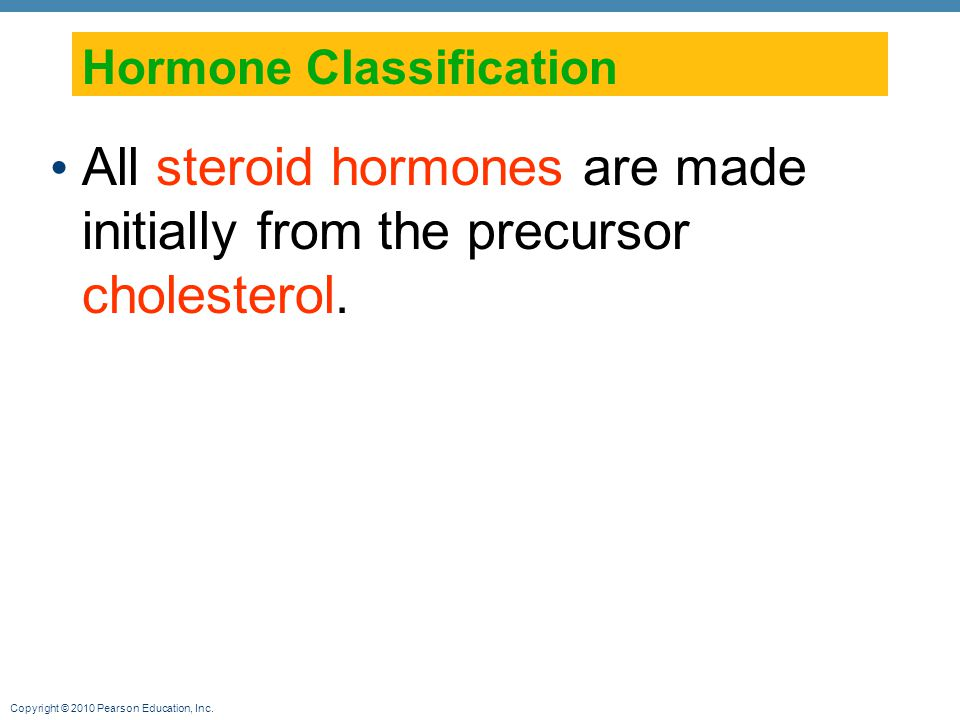 Copyright © 2010 Pearson Education, Inc. Hormone Classification All steroid hormones are made initially from the precursor cholesterol.