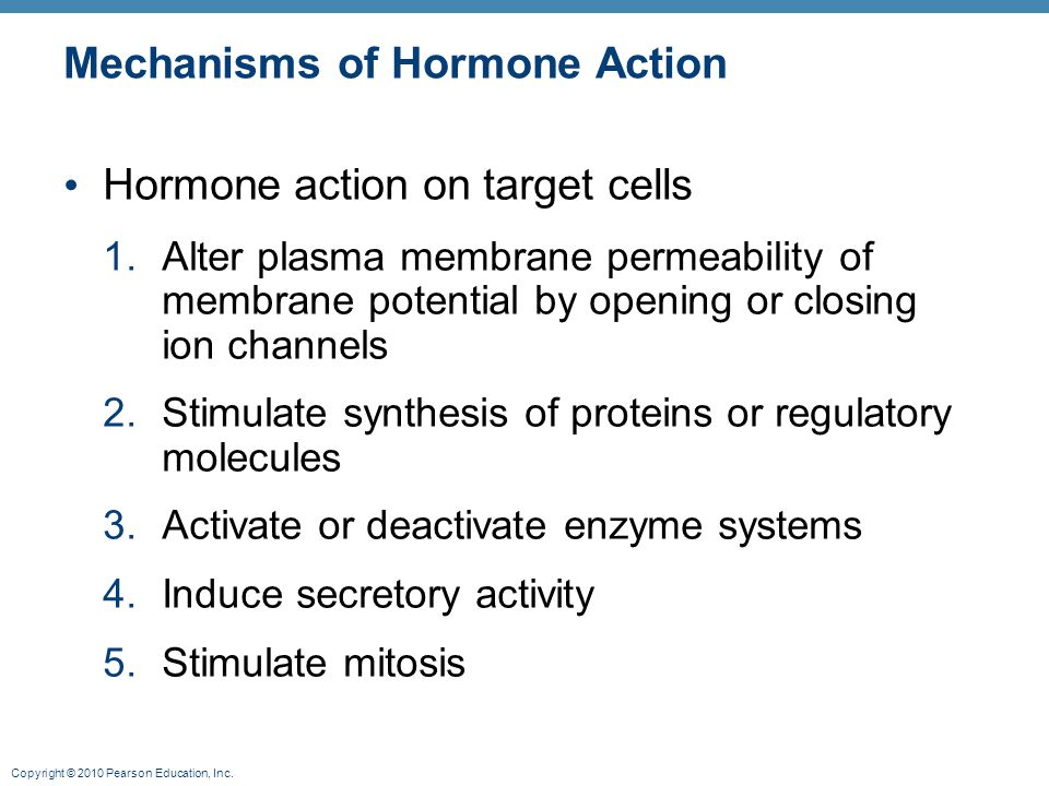 Copyright © 2010 Pearson Education, Inc. Mechanisms of Hormone Action Hormone action on target cells 1.Alter plasma membrane permeability of membrane
