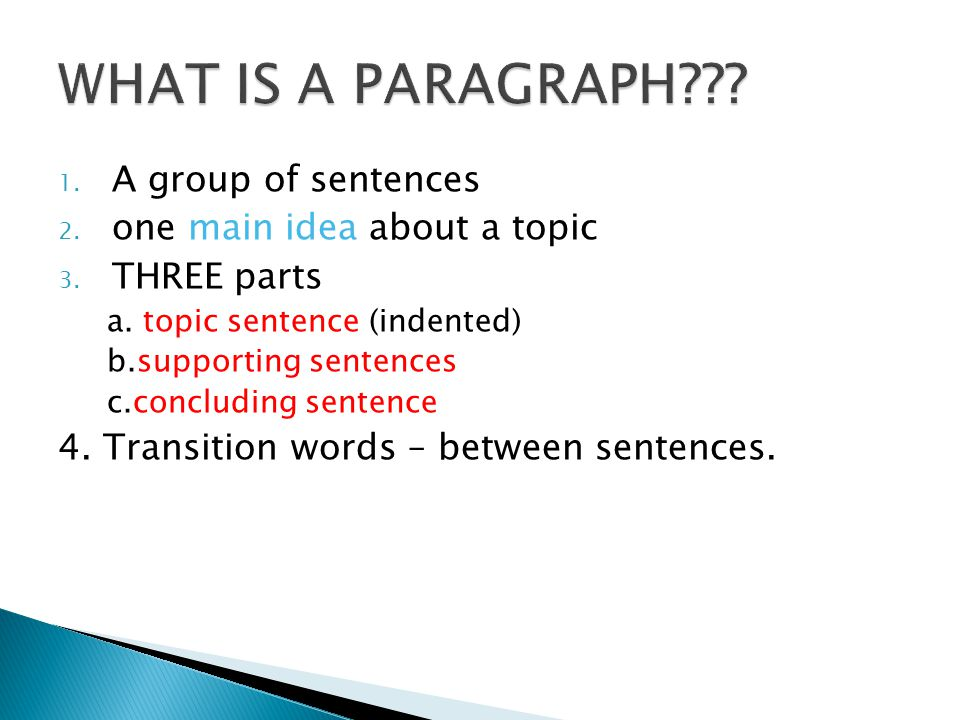 1. A group of sentences 2. one main idea about a topic 3. THREE parts a. topic sentence (indented) b.supporting sentences c.concluding sentence 4. Tra