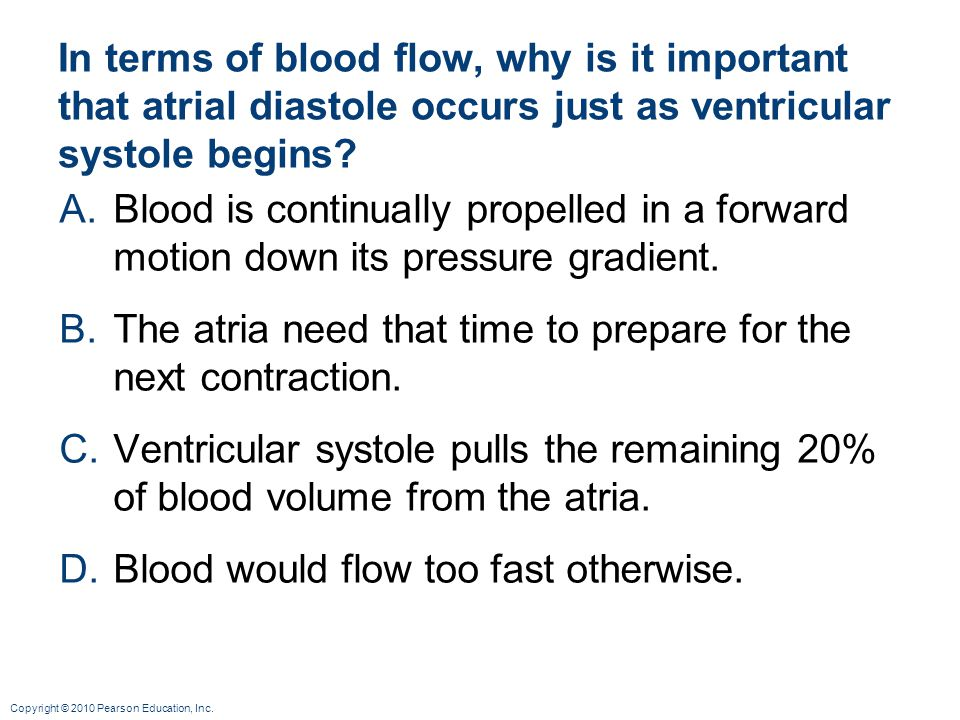 Copyright © 2010 Pearson Education, Inc. In terms of blood flow, why is it important that atrial diastole occurs just as ventricular systole begins? A