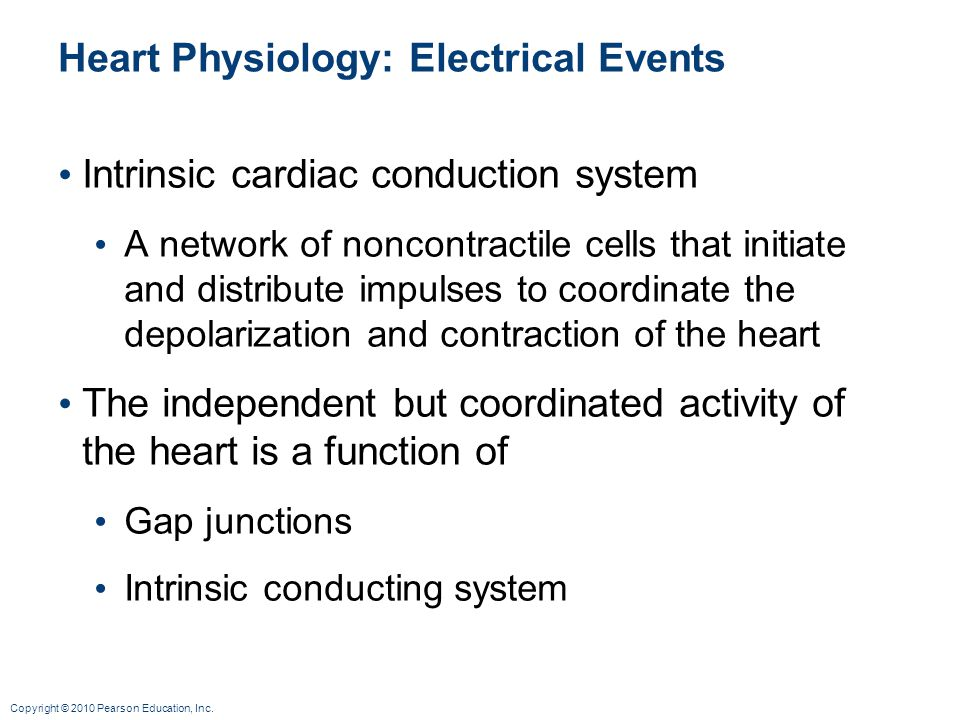 Copyright © 2010 Pearson Education, Inc. Heart Physiology: Electrical Events Intrinsic cardiac conduction system A network of noncontractile cells tha