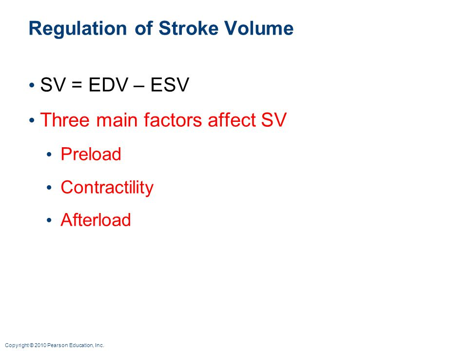 Copyright © 2010 Pearson Education, Inc. Regulation of Stroke Volume SV = EDV – ESV Three main factors affect SV Preload Contractility Afterload