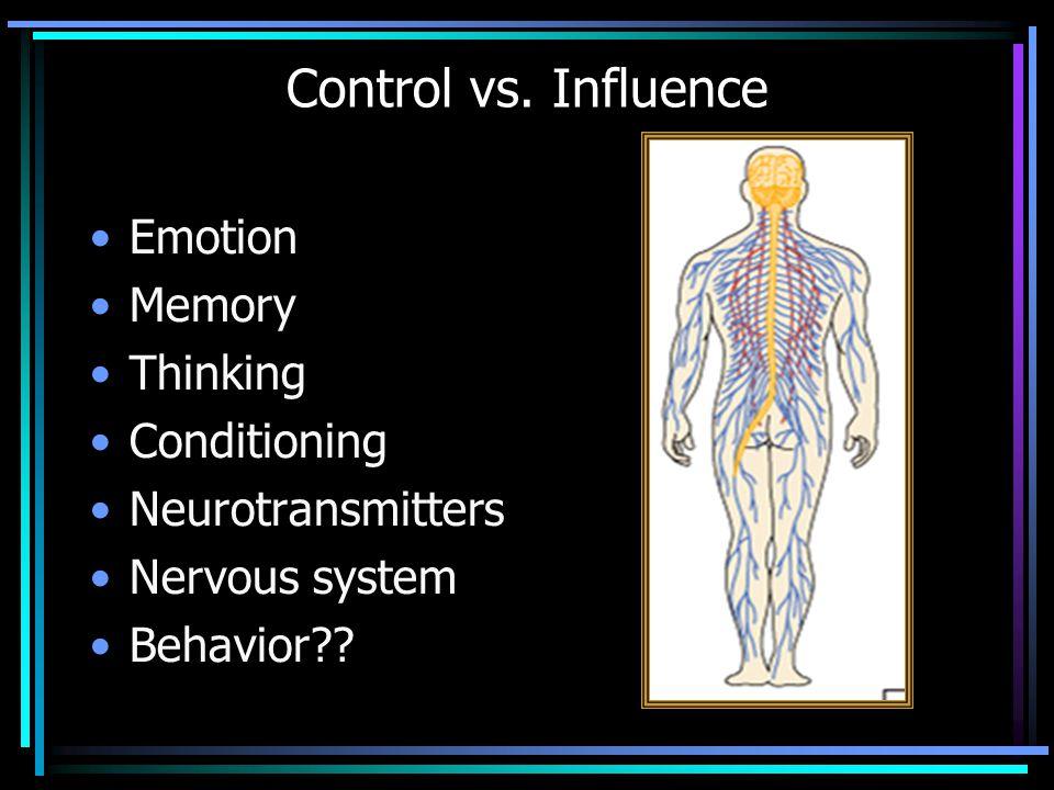 Emotion Memory Thinking Conditioning Neurotransmitters Nervous system Behavior?? Control vs. Influence