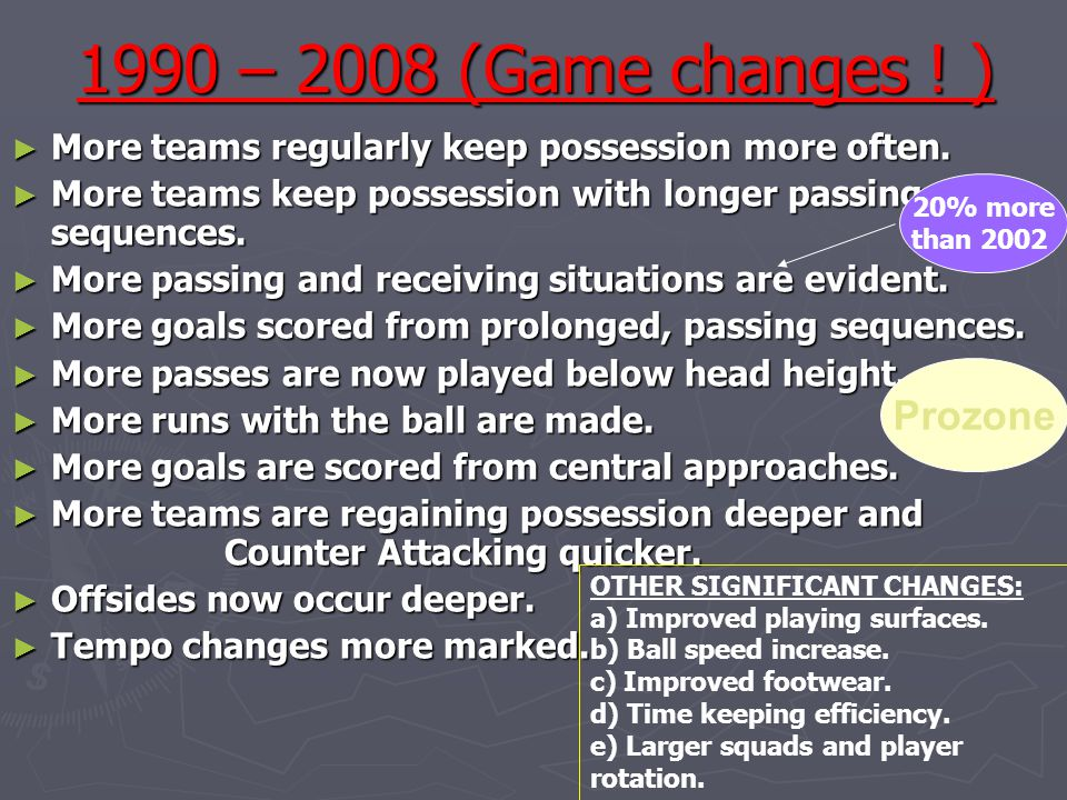 1990 – 2008 (Game changes ! ) ► More teams regularly keep possession more often. ► More teams keep possession with longer passing sequences. ► More pa