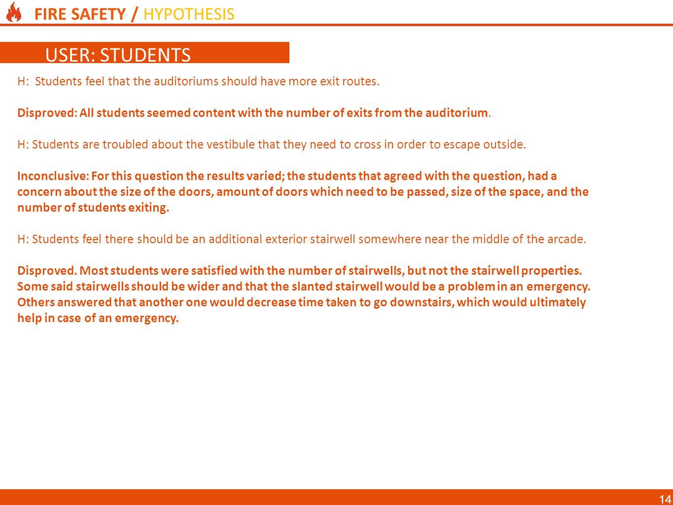 FIRE SAFETY / HYPOTHESIS DESIGN OBJECTIVES USER: STUDENTS H: Students feel that the auditoriums should have more exit routes.
