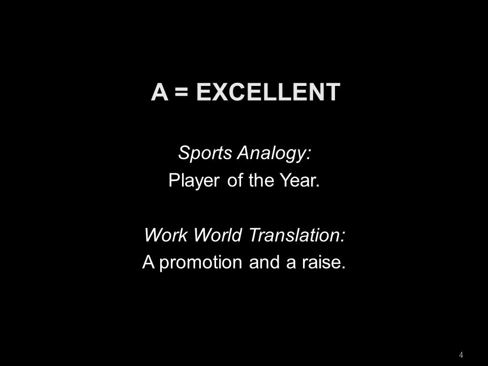 4 Sports Analogy: Player of the Year. Work World Translation: A promotion and a raise.