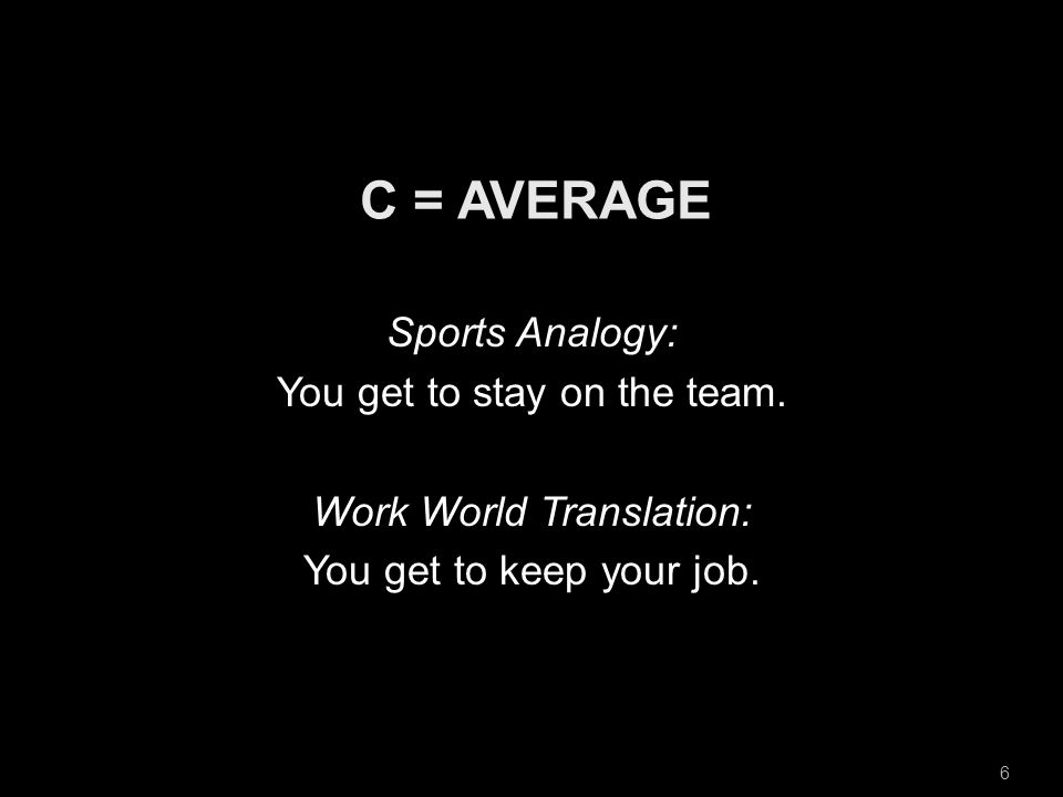 6 Sports Analogy: You get to stay on the team. Work World Translation: You get to keep your job.