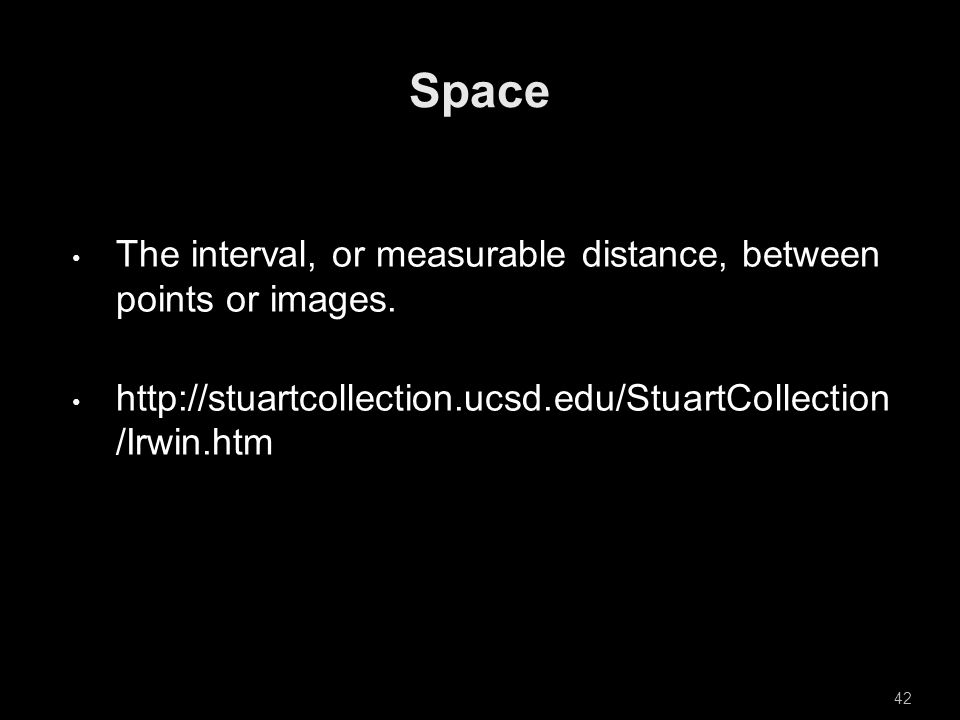 The interval, or measurable distance, between points or images.