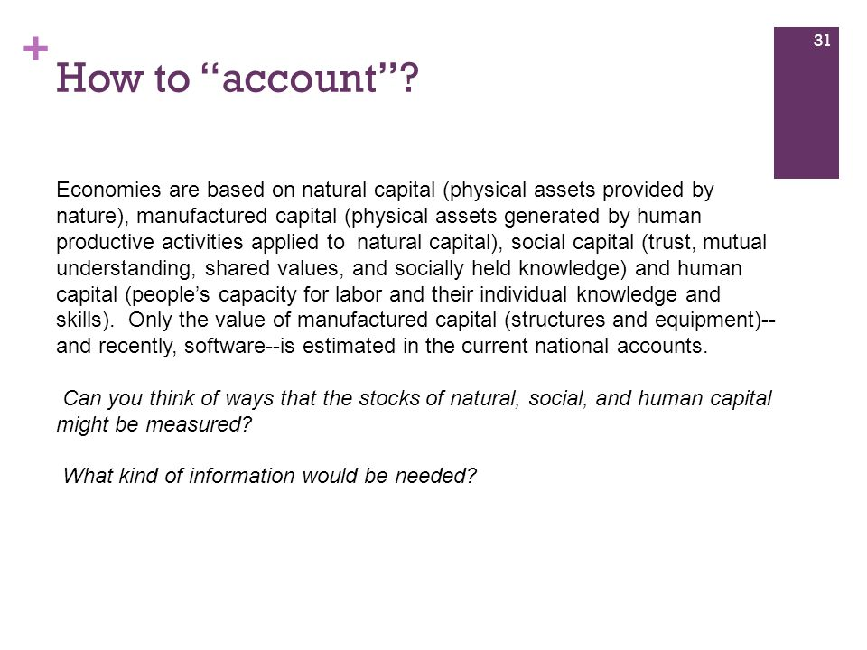 """+ How to """"account""""? 31 Economies are based on natural capital (physical assets provided by nature), manufactured capital (physical assets generated by"""
