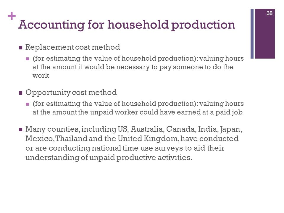 + Accounting for household production Replacement cost method (for estimating the value of household production): valuing hours at the amount it would