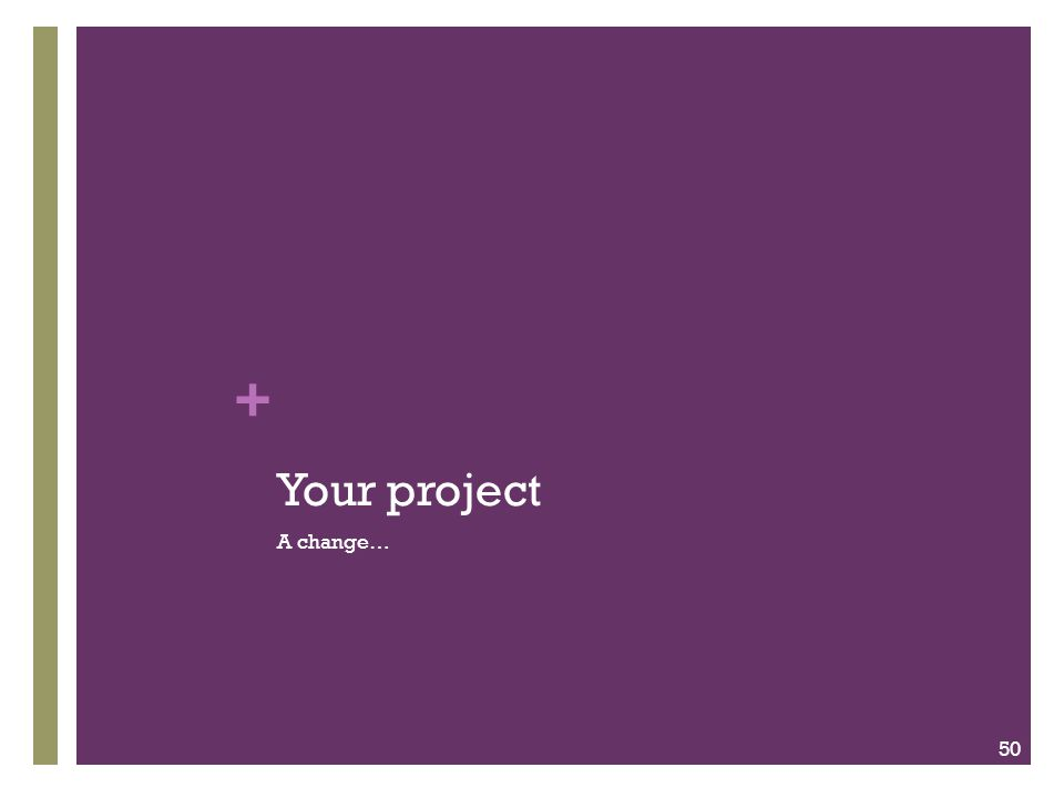 + Your project A change… 50