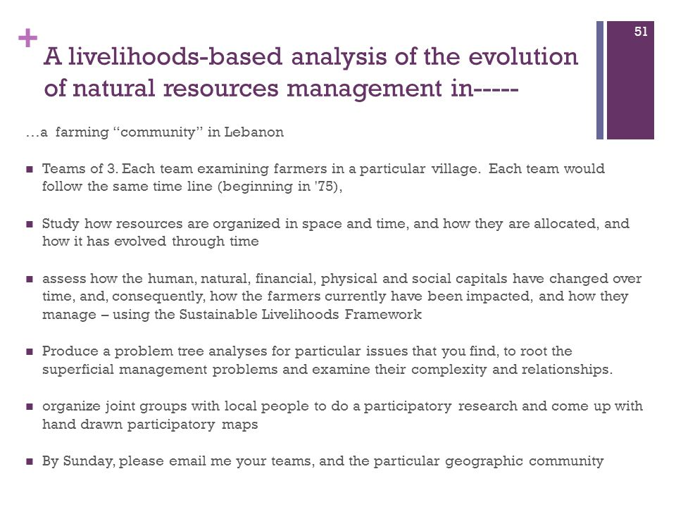 """+ A livelihoods-based analysis of the evolution of natural resources management in----- …a farming """"community"""" in Lebanon Teams of 3. Each team examin"""