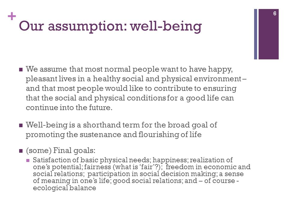 + Our assumption: well-being We assume that most normal people want to have happy, pleasant lives in a healthy social and physical environment – and t