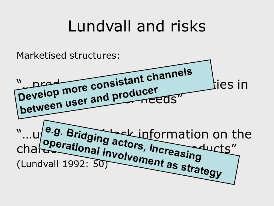 Lundvall and risks Marketised structures: …producers would have difficulties in observing new user needs …users would lack information on the characteristics of the new products (Lundvall 1992: 50) Develop more consistant channels between user and producer e.g.