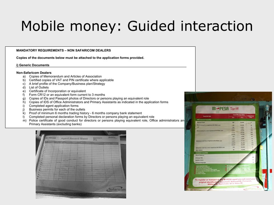 Mobile money: Guided interaction