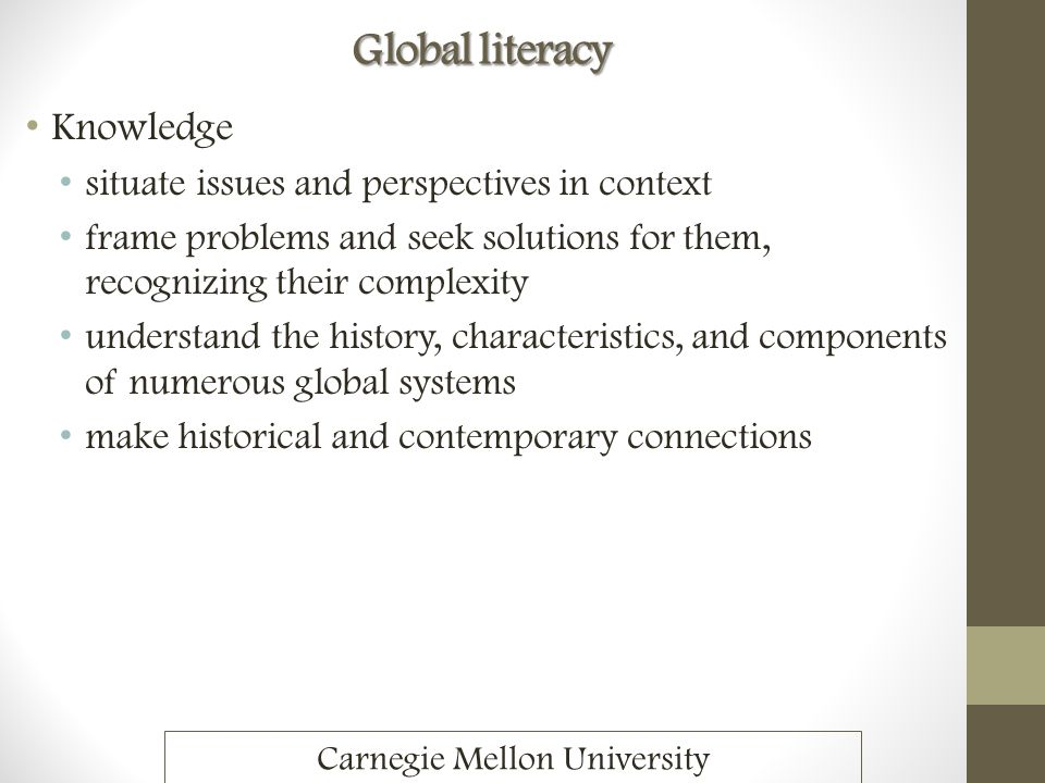 Global literacy Knowledge situate issues and perspectives in context frame problems and seek solutions for them, recognizing their complexity understa