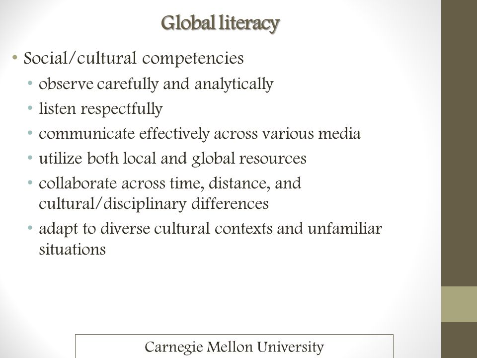 Global literacy Social/cultural competencies observe carefully and analytically listen respectfully communicate effectively across various media utili