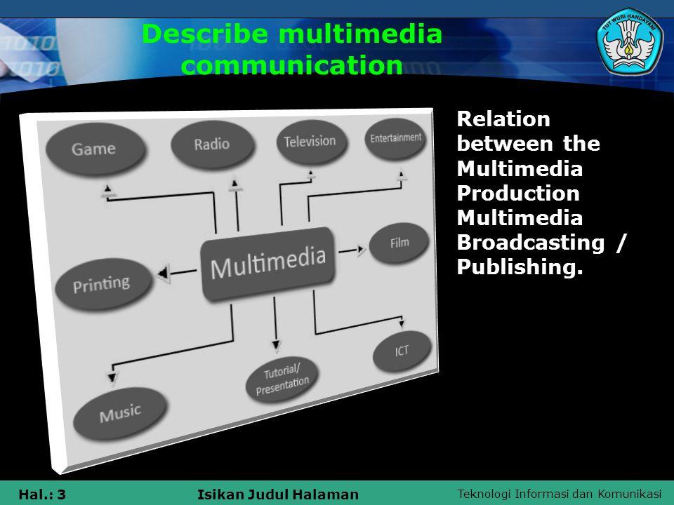 Teknologi Informasi dan Komunikasi Hal.: 3Isikan Judul Halaman Describe multimedia communication Relation between the Multimedia Production Multimedia Broadcasting / Publishing.