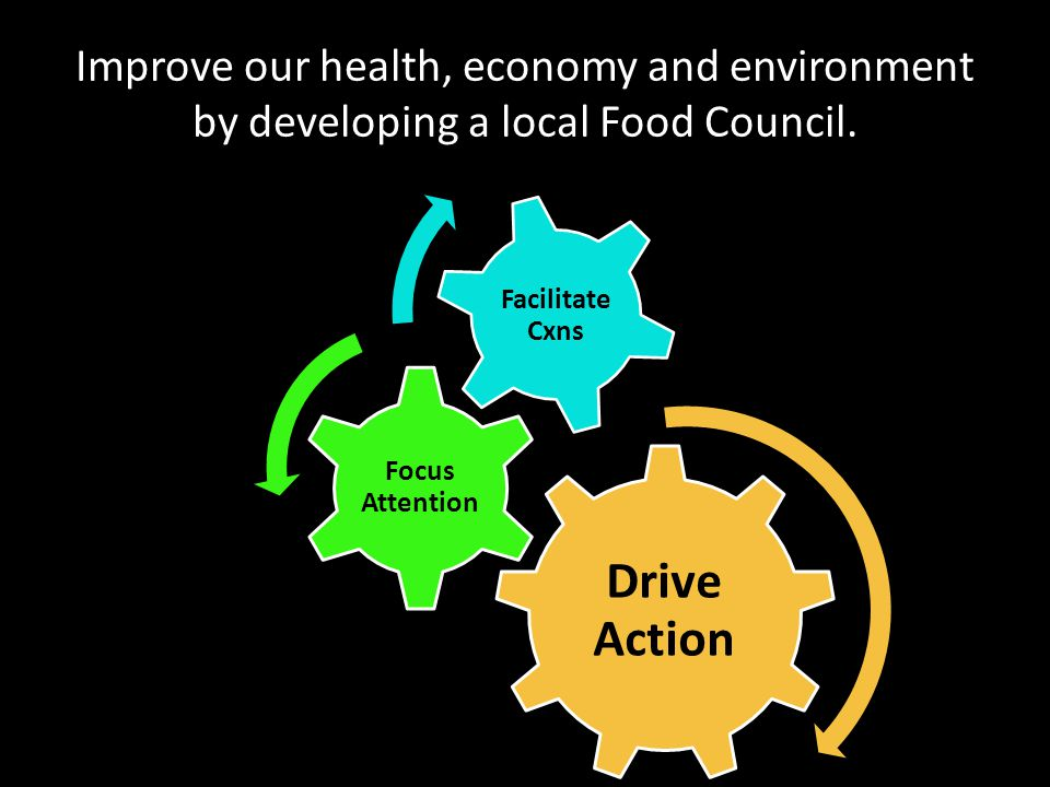 Improve our health, economy and environment by developing a local Food Council. Drive Action Focus Attention Facilitate Cxns