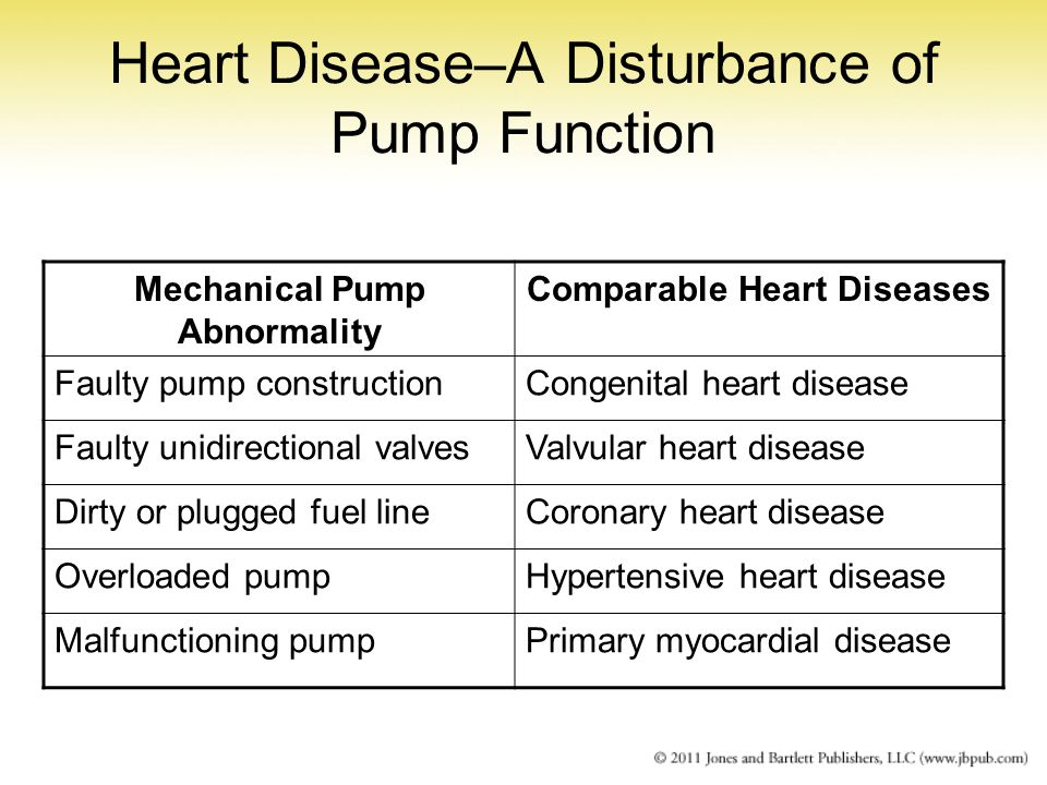 Heart Disease–A Disturbance of Pump Function Mechanical Pump Abnormality Comparable Heart Diseases Faulty pump constructionCongenital heart disease Fa