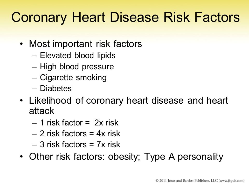 Coronary Heart Disease Risk Factors Most important risk factors –Elevated blood lipids –High blood pressure –Cigarette smoking –Diabetes Likelihood of
