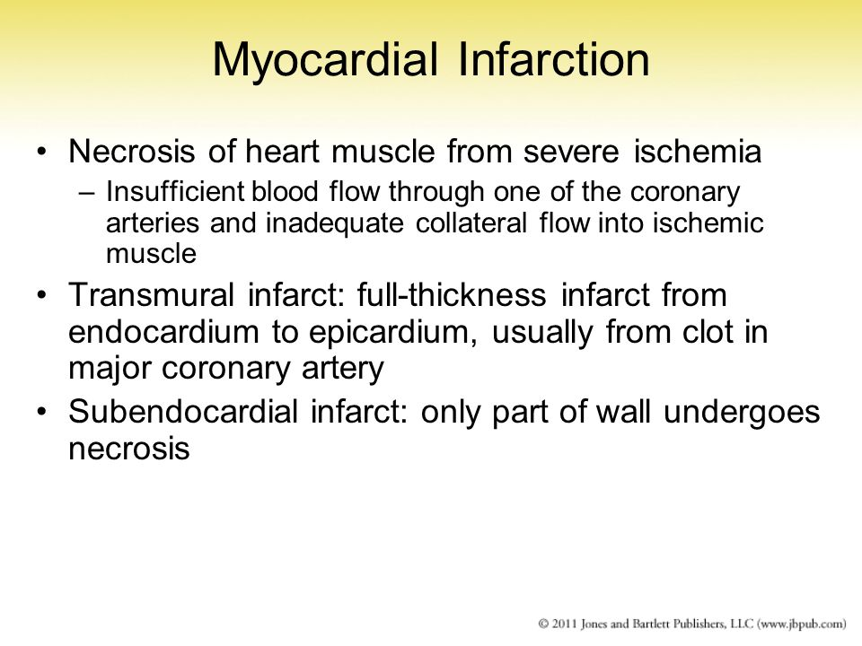 Myocardial Infarction Necrosis of heart muscle from severe ischemia –Insufficient blood flow through one of the coronary arteries and inadequate colla