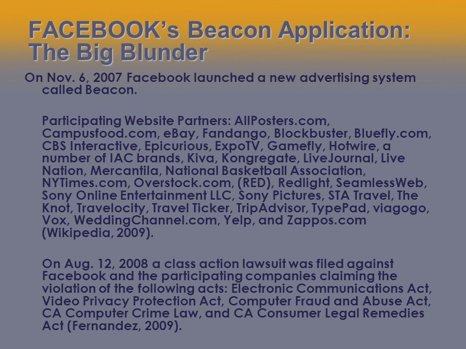FACEBOOK's Beacon Application: The Big Blunder On Nov.