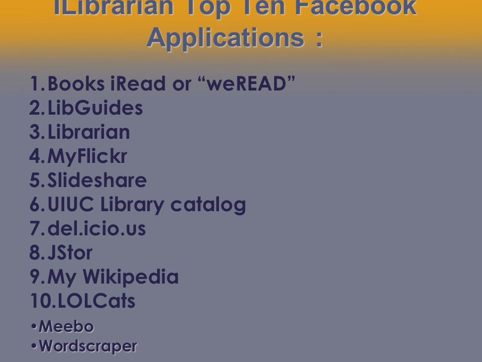 ILibrarian Top Ten Facebook Applications : 1.Books iRead or weREAD 2.LibGuides 3.Librarian 4.MyFlickr 5.Slideshare 6.UIUC Library catalog 7.del.icio.us 8.JStor 9.My Wikipedia 10.LOLCats Meebo Meebo Wordscraper Wordscraper